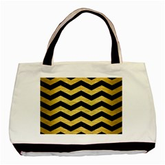 Chevron3 Black Marble & Gold Brushed Metal Basic Tote Bag by trendistuff