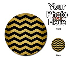 Chevron3 Black Marble & Gold Brushed Metal Multi Purpose Cards (round) by trendistuff