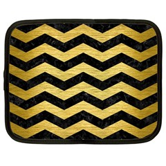 Chevron3 Black Marble & Gold Brushed Metal Netbook Case (large) by trendistuff