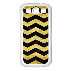 Chevron3 Black Marble & Gold Brushed Metal Samsung Galaxy S3 Back Case (white) by trendistuff