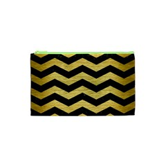 Chevron3 Black Marble & Gold Brushed Metal Cosmetic Bag (xs)