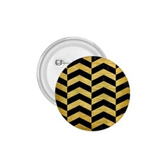 Chevron2 Black Marble & Gold Brushed Metal 1 75  Button by trendistuff