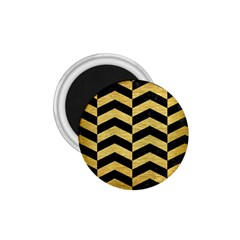 Chevron2 Black Marble & Gold Brushed Metal 1 75  Magnet by trendistuff