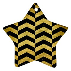 Chevron2 Black Marble & Gold Brushed Metal Ornament (star) by trendistuff