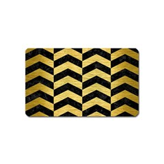 Chevron2 Black Marble & Gold Brushed Metal Magnet (name Card) by trendistuff