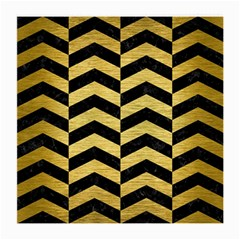 Chevron2 Black Marble & Gold Brushed Metal Medium Glasses Cloth by trendistuff