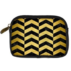 Chevron2 Black Marble & Gold Brushed Metal Digital Camera Leather Case by trendistuff