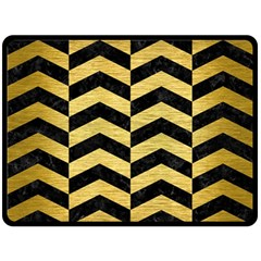 Chevron2 Black Marble & Gold Brushed Metal Fleece Blanket (large)