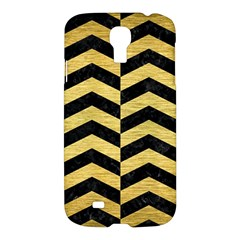 Chevron2 Black Marble & Gold Brushed Metal Samsung Galaxy S4 I9500/i9505 Hardshell Case by trendistuff
