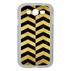 Chevron2 Black Marble & Gold Brushed Metal Samsung Galaxy Grand Duos I9082 Case (white) by trendistuff