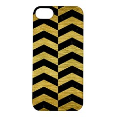 Chevron2 Black Marble & Gold Brushed Metal Apple Iphone 5s/ Se Hardshell Case by trendistuff
