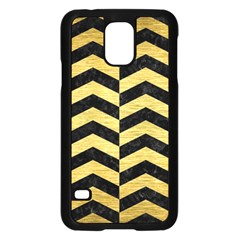 Chevron2 Black Marble & Gold Brushed Metal Samsung Galaxy S5 Case (black) by trendistuff