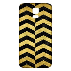 Chevron2 Black Marble & Gold Brushed Metal Samsung Galaxy S5 Back Case (white) by trendistuff