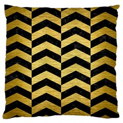 Chevron2 Black Marble & Gold Brushed Metal Large Flano Cushion Case (one Side) by trendistuff
