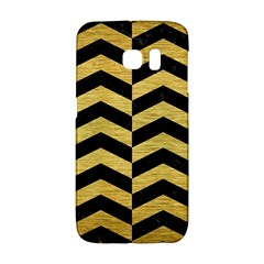Chevron2 Black Marble & Gold Brushed Metal Samsung Galaxy S6 Edge Hardshell Case by trendistuff