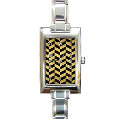 Chevron1 Black Marble & Gold Brushed Metal Rectangle Italian Charm Watch by trendistuff