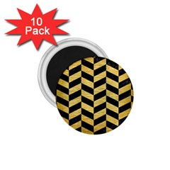 Chevron1 Black Marble & Gold Brushed Metal 1 75  Magnet (10 Pack)  by trendistuff