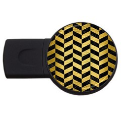 Chevron1 Black Marble & Gold Brushed Metal Usb Flash Drive Round (2 Gb) by trendistuff