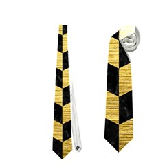 Chevron1 Black Marble & Gold Brushed Metal Necktie (one Side) by trendistuff