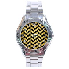 Chevron1 Black Marble & Gold Brushed Metal Stainless Steel Analogue Watch by trendistuff