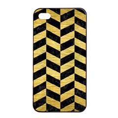 Chevron1 Black Marble & Gold Brushed Metal Apple Iphone 4/4s Seamless Case (black) by trendistuff
