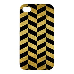 Chevron1 Black Marble & Gold Brushed Metal Apple Iphone 4/4s Hardshell Case by trendistuff