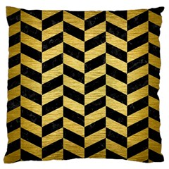 Chevron1 Black Marble & Gold Brushed Metal Large Cushion Case (one Side) by trendistuff