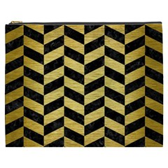 Chevron1 Black Marble & Gold Brushed Metal Cosmetic Bag (xxxl) by trendistuff