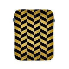 Chevron1 Black Marble & Gold Brushed Metal Apple Ipad 2/3/4 Protective Soft Case by trendistuff