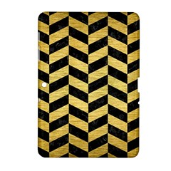 Chevron1 Black Marble & Gold Brushed Metal Samsung Galaxy Tab 2 (10 1 ) P5100 Hardshell Case