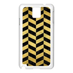 Chevron1 Black Marble & Gold Brushed Metal Samsung Galaxy Note 3 N9005 Case (white) by trendistuff