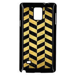 Chevron1 Black Marble & Gold Brushed Metal Samsung Galaxy Note 4 Case (black)