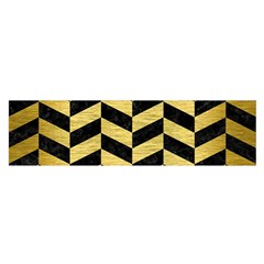 Chevron1 Black Marble & Gold Brushed Metal Satin Scarf (oblong) by trendistuff