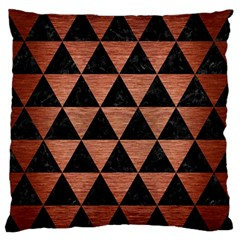 Triangle3 Black Marble & Copper Brushed Metal Large Flano Cushion Case (one Side) by trendistuff