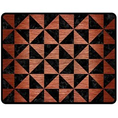 Triangle1 Black Marble & Copper Brushed Metal Fleece Blanket (medium) by trendistuff