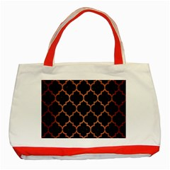 Tile1 Black Marble & Copper Brushed Metal Classic Tote Bag (red) by trendistuff