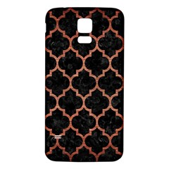 Tile1 Black Marble & Copper Brushed Metal Samsung Galaxy S5 Back Case (white) by trendistuff