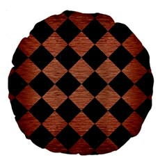 Square2 Black Marble & Copper Brushed Metal Large 18  Premium Round Cushion  by trendistuff