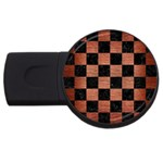 SQUARE1 BLACK MARBLE & COPPER BRUSHED METAL USB Flash Drive Round (2 GB) Front