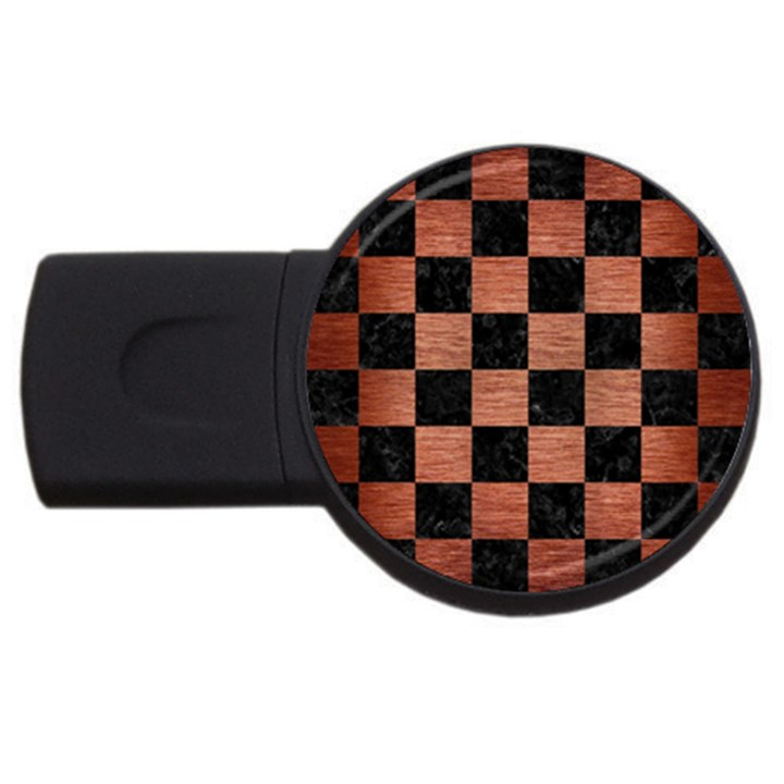 SQUARE1 BLACK MARBLE & COPPER BRUSHED METAL USB Flash Drive Round (2 GB)
