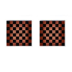 Square1 Black Marble & Copper Brushed Metal Cufflinks (square) by trendistuff