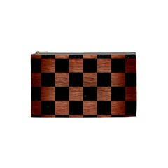 Square1 Black Marble & Copper Brushed Metal Cosmetic Bag (small) by trendistuff