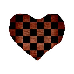 Square1 Black Marble & Copper Brushed Metal Standard 16  Premium Flano Heart Shape Cushion