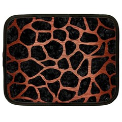 Skin1 Black Marble & Copper Brushed Metal (r) Netbook Case (large) by trendistuff