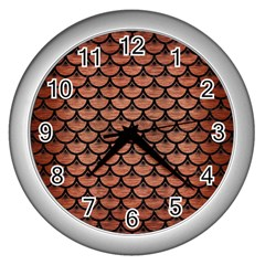 Scales3 Black Marble & Copper Brushed Metal (r) Wall Clock (silver)