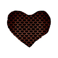 Scales3 Black Marble & Copper Brushed Metal Standard 16  Premium Flano Heart Shape Cushion