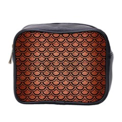 Scales2 Black Marble & Copper Brushed Metal (r) Mini Toiletries Bag (two Sides) by trendistuff