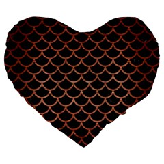 Scales1 Black Marble & Copper Brushed Metal Large 19  Premium Flano Heart Shape Cushion by trendistuff