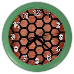Hexagon2 Black Marble & Copper Brushed Metal (r) Color Wall Clock by trendistuff