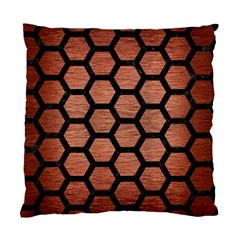 Hexagon2 Black Marble & Copper Brushed Metal (r) Standard Cushion Case (two Sides) by trendistuff